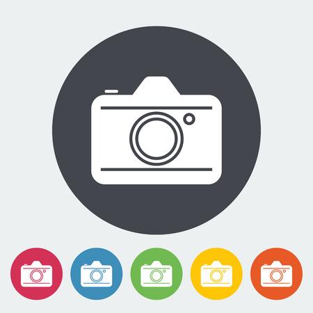 reflex camera: Camera. Single flat icon on the circle. Vector illustration. Illustration