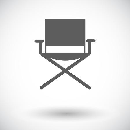 キャンプの椅子。白い背景の上の単一のフラット アイコン。ベクトルの図。
