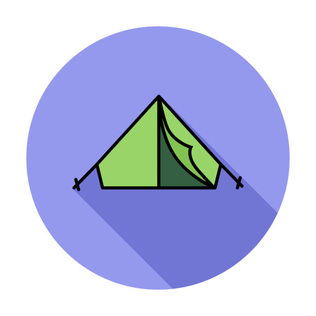 camping tent: Tent. Single flat color icon on the circle. Vector illustration. Illustration