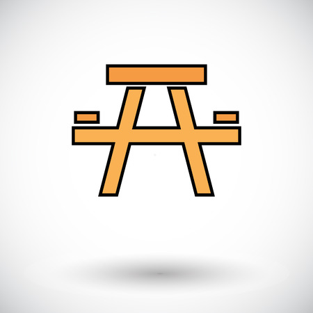 Camping table. Flat icon on the white background for web and mobile applications. Vector illustration. Illustration