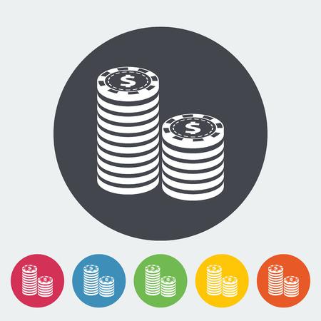las vegas metropolitan area: Gambling chips. Single flat icon on the circle button. Vector illustration. Illustration