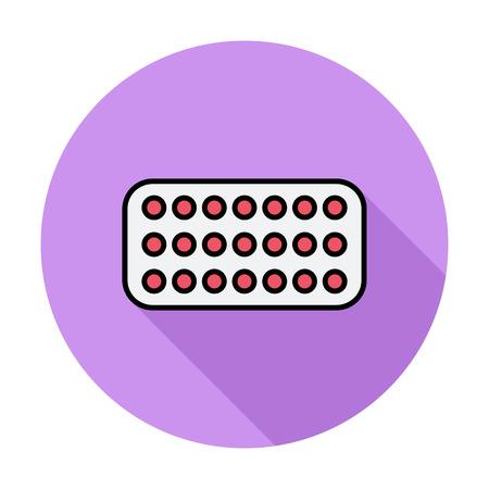 contraceptive: Contraceptive pills. Single flat color icon on the circle. Vector illustration.