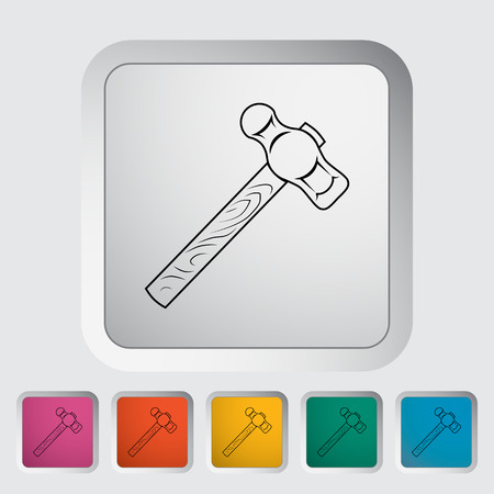 impact tool: Hammer. Single flat icon on the button. Vector illustration.