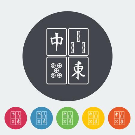 lucky bamboo: Mahjong. Single flat icon on the circle button. Vector illustration.
