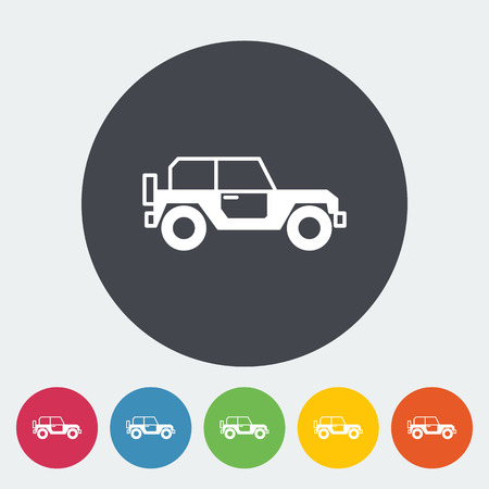 offroad car: Offroad car. Single flat icon on the circle button. Vector illustration.