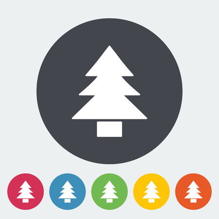 conifer: Conifer. Single flat icon on the circle button. Vector illustration.