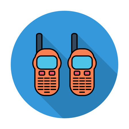 portable radio: Radio port�til. Individual icono de color plano en el c�rculo. Ilustraci�n del vector.