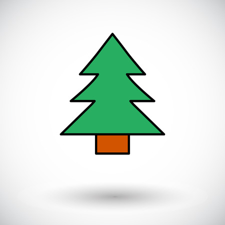 conifer: Conifer. Flat icon on the white background for web and mobile applications. Vector illustration.