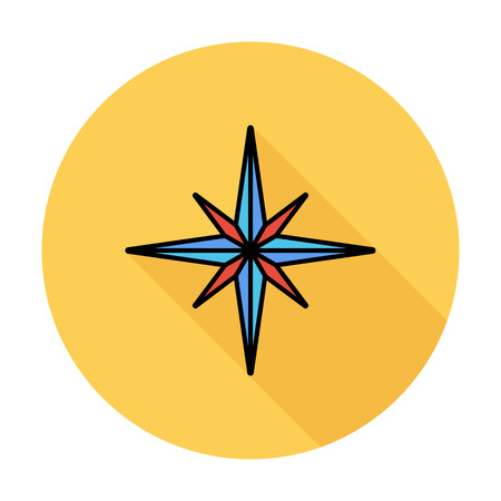 northwest: Wind rose. Single flat color icon on the circle. Vector illustration.