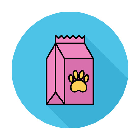 petshop: Pet food bag icon. Line flat vector related icon for web and mobile applications. It can be used as - logo, pictogram, icon, infographic element. Vector Illustration.