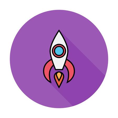 booster: Rocket delgada l�nea plana relacionados vectores icono de conjunto de aplicaciones web y m�viles. Se puede utilizar como - logotipo, pictograma, icono, elemento de infograf�a. Ilustraci�n del vector.