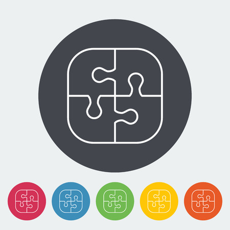 medium group of people: Puzzle icon. Thin line flat vector related icon for web and mobile applications. It can be used as - logo, pictogram, icon, infographic element. Vector Illustration. Illustration