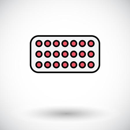 contraceptive: Contraceptive pills Flat icon on the white