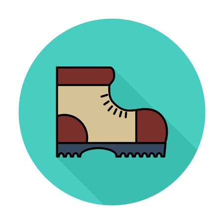Hiking shoes Single flat color icon on the circle.  イラスト・ベクター素材