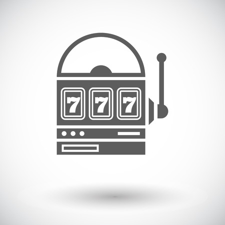 tragamonedas: Slot. Individual icono de plano sobre fondo blanco. Ilustración del vector.