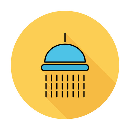 showering: Shower Single flat color icon on the circle.  Illustration