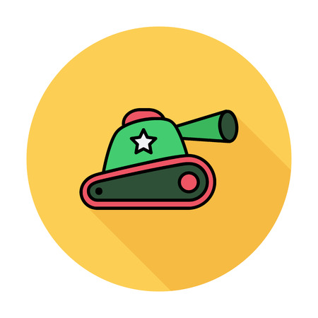 trooper: Tank toy thin line flat related icon set for web and mobile applications