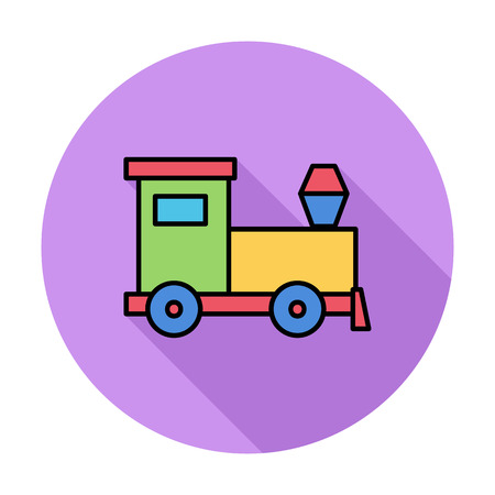 tren caricatura: Tren de juguete delgada línea plana conjunto de iconos relacionados para aplicaciones web y móviles.
