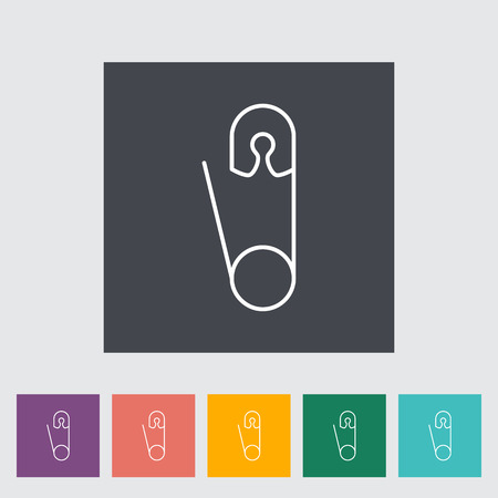 safety pin: Safety pin thin line flat related icon set for web and mobile applications.