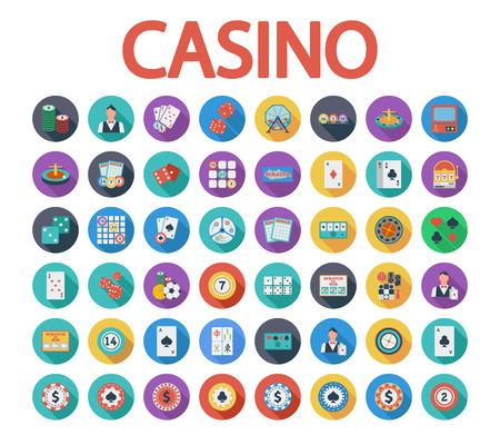 bingo: Iconos del casino fijados. Icono relacionado vectorial Flat establece la pizca de sombra larga para web y aplicaciones móviles. Se puede utilizar como, pictograma, icono, elemento de infografía. Ilustración del vector. Vectores