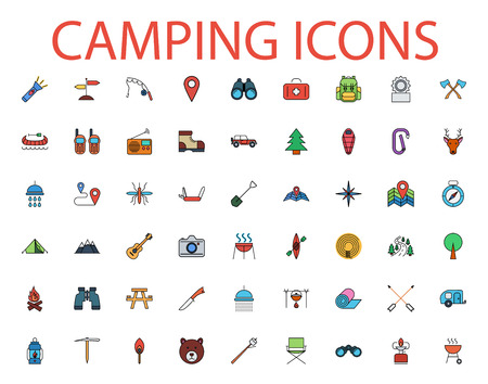 temperino: Camping icons set. Flat vector related icon set for web and mobile applications. It can be used as , pictogram, icon, infographic element. Vector Illustration.