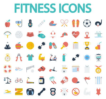 health and fitness: Fitness icons set. Flat vector related icon set whit long shadow for web and mobile applications. It can be used as, pictogram, icon, infographic element. Vector Illustration.