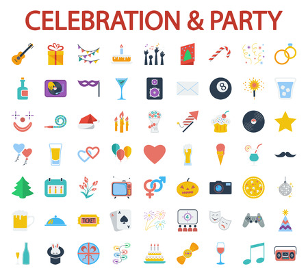 beer wine: Celebration and Party icons set. Flat vector related icon set for web and mobile applications. It can be used as, pictogram, icon, infographic element. Vector Illustration.