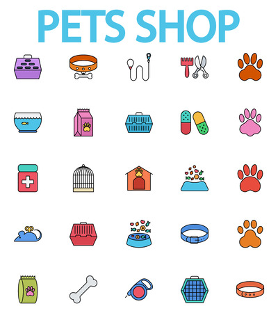 pet store: Pets shop icons set. Flat vector related icon set whit long shadow for web and mobile applications. It can be used as, pictogram, icon, infographic element. Vector Illustration.