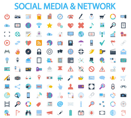 Social media and network icons set. Flat vector related icon set for web and mobile applications. It can be used as, pictogram, icon, infographic element. Vector Illustration.