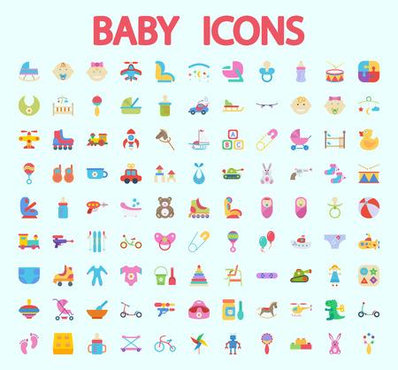 teteros: Iconos del bebé fijados. Piso relacionados vectores icono de conjunto de aplicaciones web y móviles. Se puede utilizar como, pictograma, icono, elemento de infografía. Ilustración del vector. Vectores