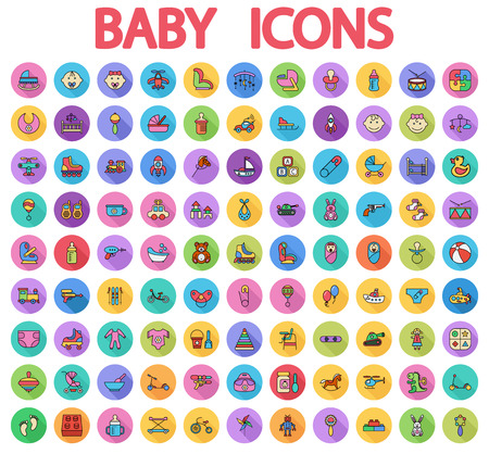 Baby icons set. Flat vector related icons set with long shadow for web and mobile applications.  Illustration