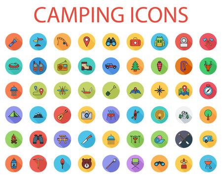キャンプのアイコンを設定します。平面ベクトルは関連 web およびモバイル アプリケーションのための長い影でセットされたアイコンです。  イラスト・ベクター素材