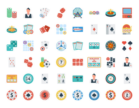casino dealer: Casino icon set. Flat vector related icon set for web and mobile applications. Illustration