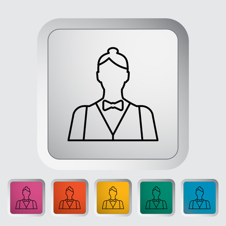 dealer: Live dealer. Single flat icon on the button. Vector illustration.