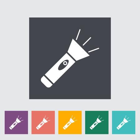iluminacion led: Flashlight. Single flat icon on the button. Vector illustration.