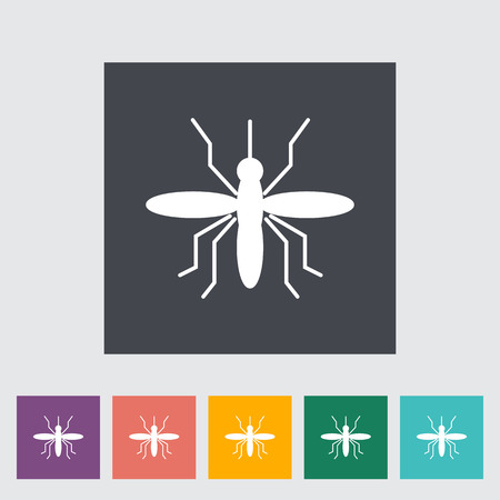 anopheles: Mosquito. Single flat icon on the button. Vector illustration. Illustration
