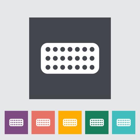 contraceptive: Contraceptive pills. Single flat icon on the button. Vector illustration. Illustration