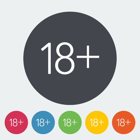 pornography: Age restriction. Single flat icon on the circle. Vector illustration.