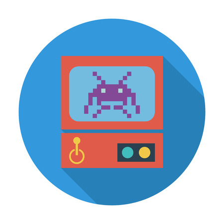 arcade: Retro Arcade Machine. Flat icon for mobile and web applications. Vector illustration. Illustration