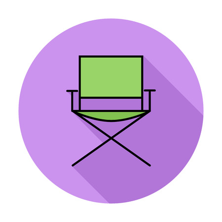 displaced: Camping chair. Single flat color icon on the circle. Vector illustration.