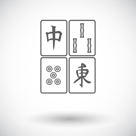 lucky bamboo: Mahjong. Single flat icon on white background. Vector illustration.