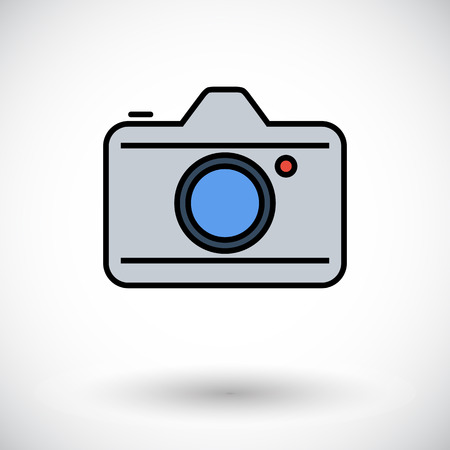 reflex camera: Camera. Flat icon on the white background for web and mobile applications. Vector illustration.