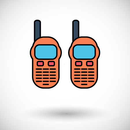 Portable radio. Flat icon on the white background for web and mobile applications. Vector illustration.