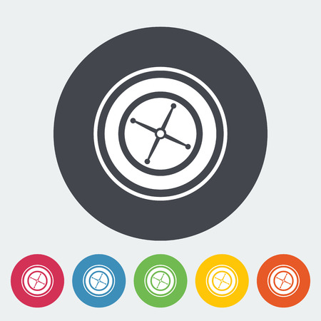 wheel of fortune: Roulette. Single flat icon on the circle button. Vector illustration. Illustration