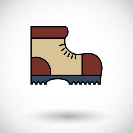 Hiking shoes. Flat icon on the white background for web and mobile applications. Vector illustration.