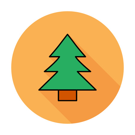 conifer: Conifer. Single flat color icon on the circle. Vector illustration. Illustration