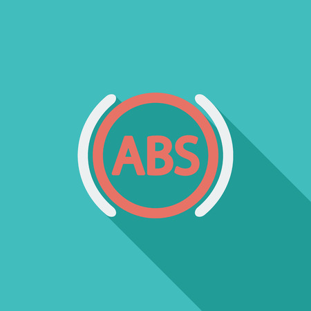 abs: ABS icon. Flat vector related icon with long shadow for web and mobile applications. It can be used as - logo, pictogram, icon, infographic element. Vector Illustration.