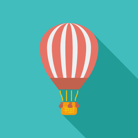 air sport: Air balloon icon. Flat vector related icon with long shadow for web and mobile applications. infographic element. Vector Illustration.