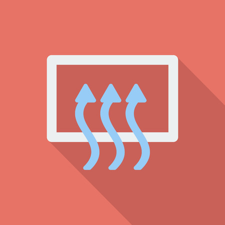 recirculate: Rear window defrost icon. Flat vector related icon with long shadow for web and mobile applications.