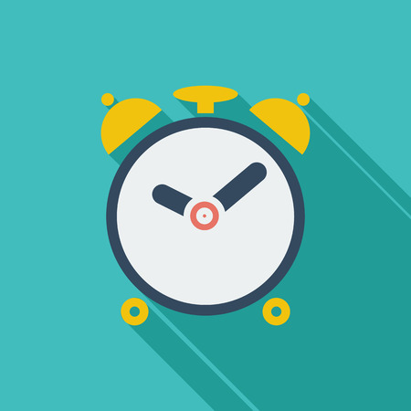 Alarm clock icon. Flat vector related icon with long shadow for web and mobile applications. It can be used as - logo, pictogram, icon, infographic element. Vector Illustration. Illustration